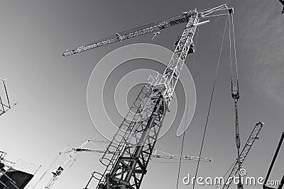 Construction -cranes inside building-site