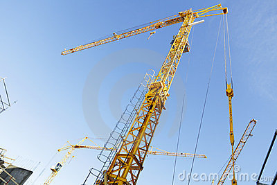 Construction -cranes inside building-site