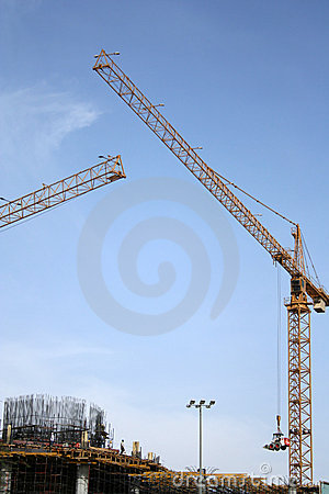 Construction cranes in operation