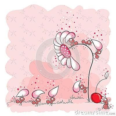 Construction d une fleur - fourmis roses