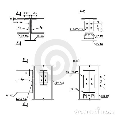 Construction Drawing Steel Girder Connection Stock Image