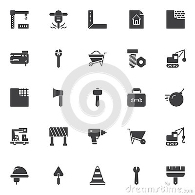 Free Construction Elements Vector Icons Set Stock Photos - 111998923
