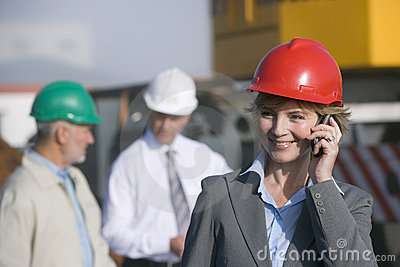 Construction engineer on her cellphone