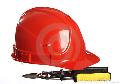 Construction equipment: helmet and snips