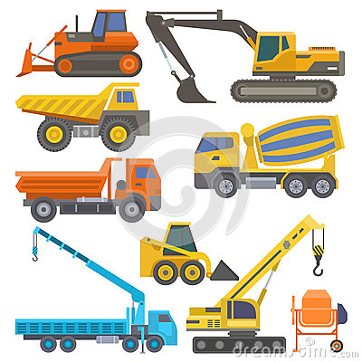 Construction equipment and machinery with trucks crane bulldozer flat yellow transport vector illustration Vector Illustration