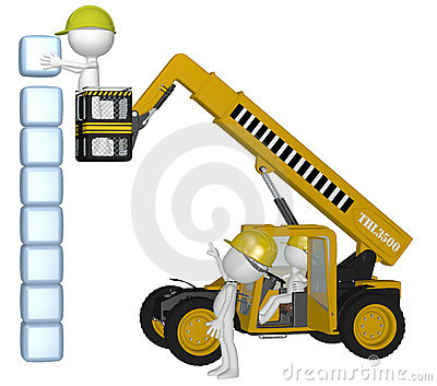 Construction equipment people building cubes stack