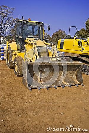 Construction equipment in yard