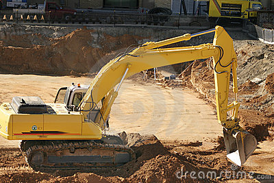 Construction: excavating dirt