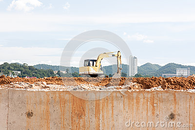 Construction Excavator at a construction