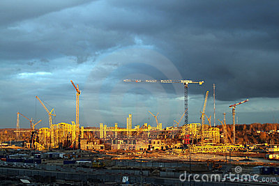 The construction of a football stadium in Kazan.