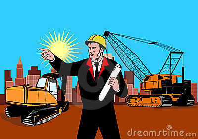 Construction foreman pointing