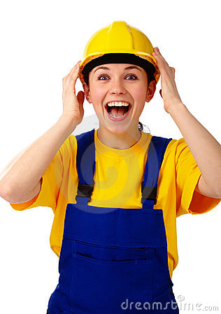 Construction girl holds her hard hat and scream