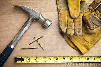 Construction hammer and tools background
