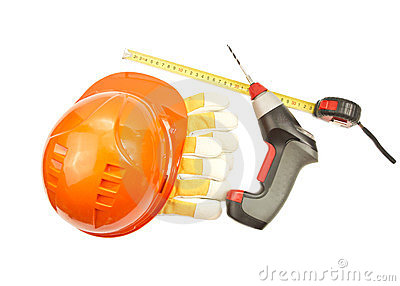 Construction hard hat, roulette, gloves, drill