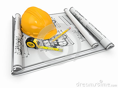 Construction. Hardhat, blueprint and rulers.
