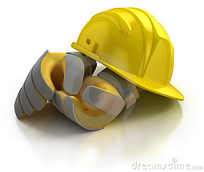 Construction helmet and gloves