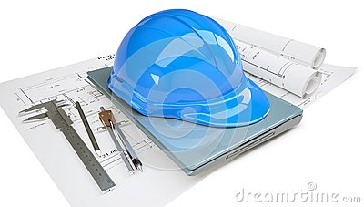 Construction helmet and laptop in the drawings
