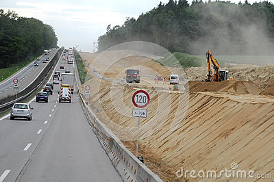 Construction of highways in Germany Editorial Stock Image