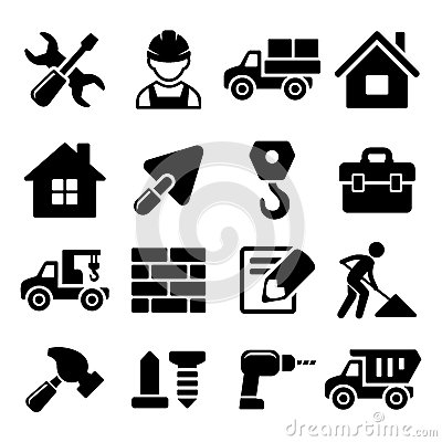 Free Construction Icons Set On White Background. Vector Stock Photo - 43386360