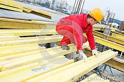 Construction installer at work