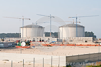 Construction of LPG terminal in Swinoujscie Editorial Photography