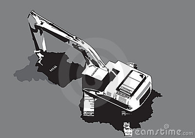 Construction machinery digging vector