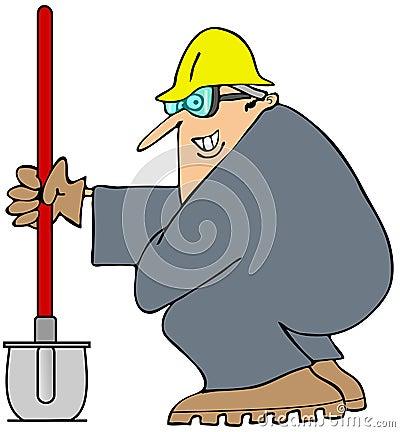 Construction man and his shovel