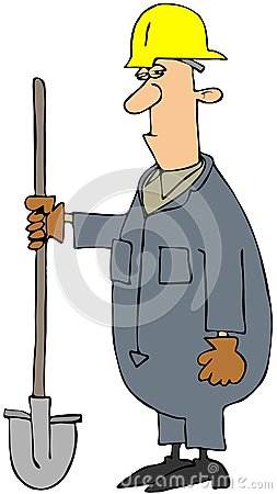 Construction Man Holding A Shovel