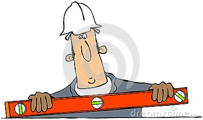 Construction man with a level