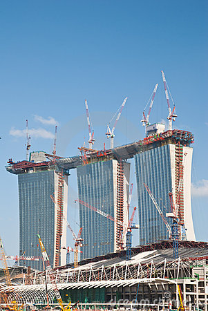 Construction of Marina Bay Sands Editorial Stock Image