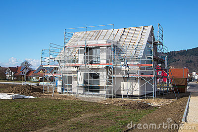 Construction of a new prefabricated house.
