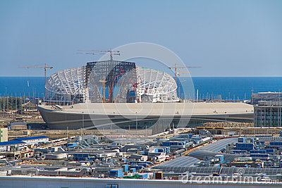 Construction of olympic stadium Fisht in Sochi