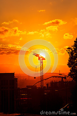 Free Construction On Sunset Stock Images - 47747314
