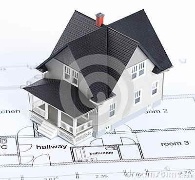 Construction plan with house architectural model