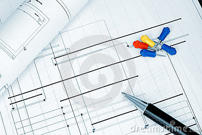 Construction project planning blueprint