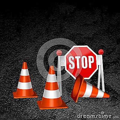 Construction repair of roads concept