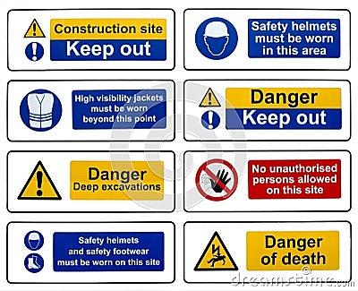 Construction Health Safety Hazard Danger Warning Signs