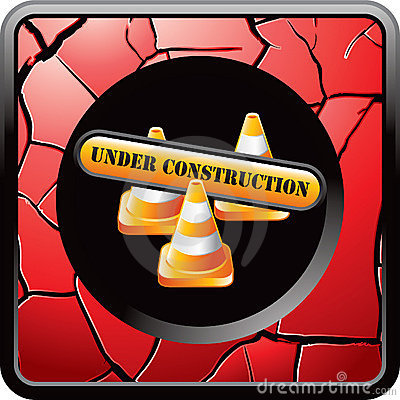 Construction sign and cones on red cracked icon