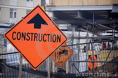 Construction sign on  site
