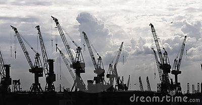 Construction silhouette of cranes