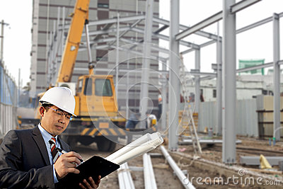 Construction site and architect
