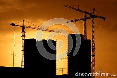 Construction site back lit