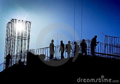 Construction site in blue