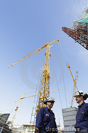 Construction site and building workers