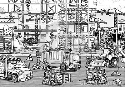 Construction site coloring page with preview stock for Building construction coloring pages