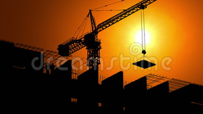 Construction Site at Dawn. 3d animation. 4K, time-lapse