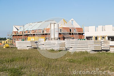Construction site with family houses