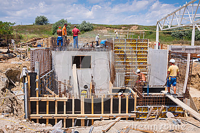 Construction site fish farm tank Editorial Photography