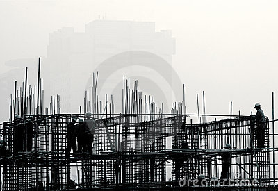 Construction site in the fog.