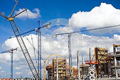 Construction site of football stadium